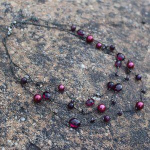 Jewelry - [5/$25]Elegant Cranberry MultiStrand Necklace Plum